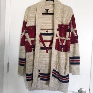 Chunky Tan Cardigan w/ Red & Navy Pattern